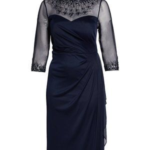 Alex Evenings Beaded Illusion Neck Navy Gown